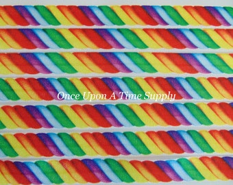 Rainbow Candy Swirl Twist Printed Fold Over Elastic for Baby Headbands - 5 Yards of 5/8 inch Print FOE - Food Sweets Elastic By The Yard