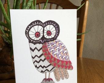 Owl Card, Comical Owl, Owl Art, Bird Card, whimsical, pen and ink