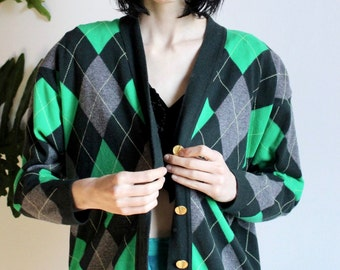 Escada Green Argyle Sweater Cardigan