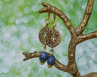 Earrings, boho, with lapis lazuli, bronze and goldplated parts, free shipping