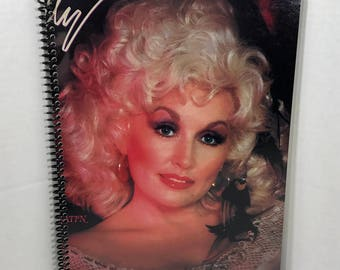 Dolly Parton Album Cover Notebook Handmade Spiral Journal - Burlap & Satin