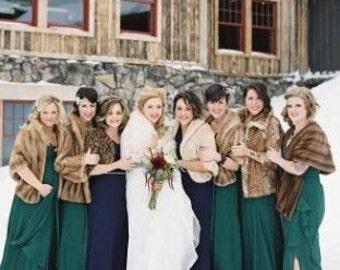 Beautiful mink or fox fur stoles for your perfect wedding ~ Custom order ~ Bride & bridesmaids ~ Luxury stole cape bolero shawl wrap winter