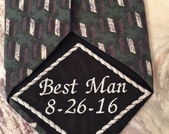 Best Man Gifts, Tie Patch, Best man Tie Patch, Wedding Tie Patch, Embroidered Tie, Persoanlized Tie Patch, Wedding gift