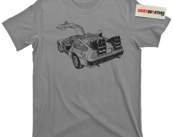 DeLorean Motor Company DMC Back to the Future 2 3 trilogy 1.21 Gigawatts Flux Capacitor Michael J Fox Marty George McFly Great Scott T Shirt