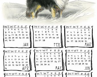Rough Collie 2018 yearly calendar