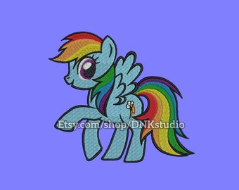 My Little Pony Rainbow Dash Machine Embroidery Design - 6 Sizes - INSTANT DOWNLOAD