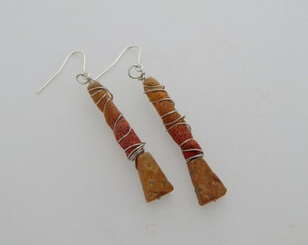 Dune Earrings - Handpainted Textile - One of a kind - Featured in Jewelry Affaire Magazine