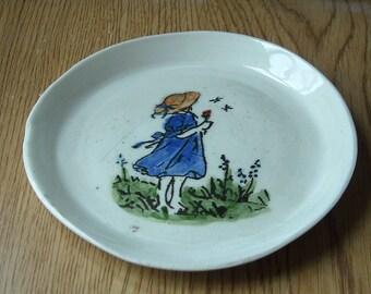 Wheel Thrown Girl Spoon Rest, Pottery, Ceramic Spoon Rest, Stoneware Spoon Rest, Hand Thrown, Tea Bag Holder, Girl in Blue Dress