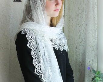 Evintage Veils~ Cream White Spanish Lace Vintage Inspired Lace Chapel Veil Scarf Mantilla Wrap Shawl