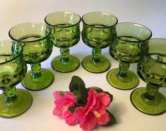 Set of six small vintage King's Crown green glass goblets