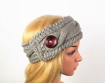 Gray Ear Warmer, Knitted winter headband ,Knit and Crochet Headband ,Ear warmer turban, Women winter headband ,Wool headband