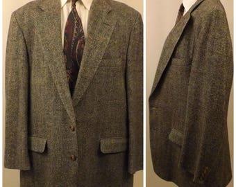 70's Corbin Ltd Men's Sport Coat Gray Herringbone Size 42 L