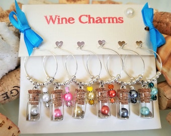 Bridal Shower Favors, Unique Wine Gift, Wine Charms, Nautical Wine Glass Charms, Multi-Color Beach Wine Charm, Hand-Made, LasmasCreations.
