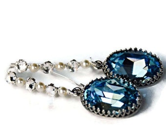Aqua Crystal Earrings Silver Pearl Earrings March Birthstone Crystal Statement Earrings Blue Topaz Bridesmaid Earrings Mother of the Bride
