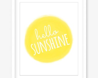 Hello sunshine print - happy printable art - printable quote print - summer print - summer quote wall art - happy print - INSTANT DOWNLOAD