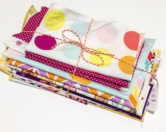 Cotton Fabric Scrap Bundle~Brights~Craft Supplies~Sewing~Quilting~Designer Cottons~Novelty Prints~Fabric Scraps~Scrapbooking~Applique~Scraps