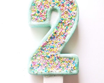 Large Cupcake Sprinkle Candle-Number Two candle-Birthday Party Candles- Cupcake Party Decorations-Ice cream Party candle-Make a wish