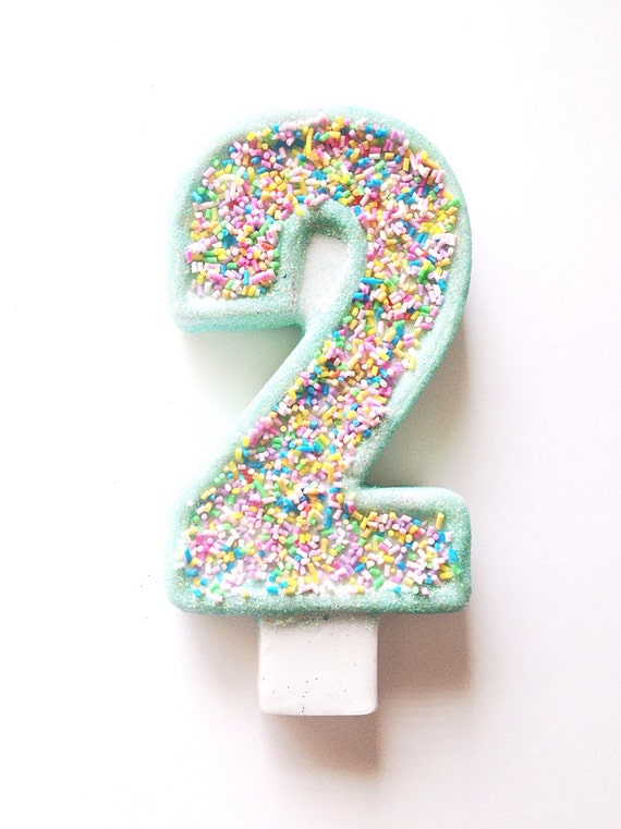 Large Cupcake Sprinkle Candle-Number Two candle-Birthday Party