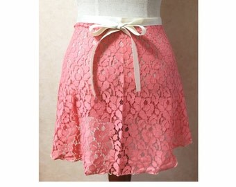 Salmon Pink Lace Ballet Wrap Skirt for Adult/Teen