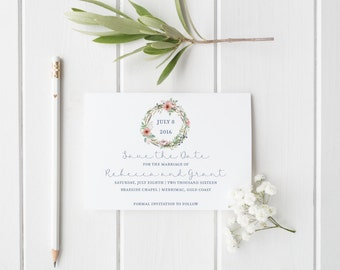 Floral Save the Date, Custom Save Date Cards and Wedding Stationery, Wedding Save Date, BOHO Wreath Part of the Invitation Suite - Rebecca