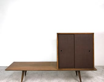 Vintage Paul McCobb Planner Group Bench & Grasscloth Cabinet 1950's