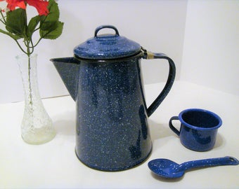 Blue Speckled Metal Coffee Pot, Enamelware Coffee Pot, Vintage Campfire Cooking, Rustic Blue Graniteware Coffee Pot, Spoon and Small Cup