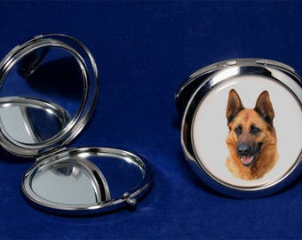 German Shepherd dog 2-sided foldable pocket mirror. Great gift for any German Shepherd owners and lovers.