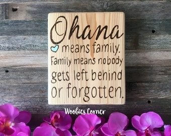 Ohana sign, Ohana means family, Family quote signs, Nursery wall decor, Nursery quotes, Rustic home decor, Family quotes, Rustic family sign