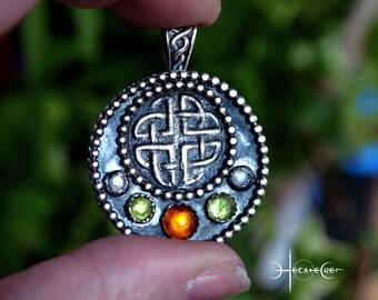 CELTIC KNOT silver pendant - Pagan Jewelry - UNIQUE Metalwork pendant - Folk silver necklace - Prehnite, amber & labradorite silver pendant