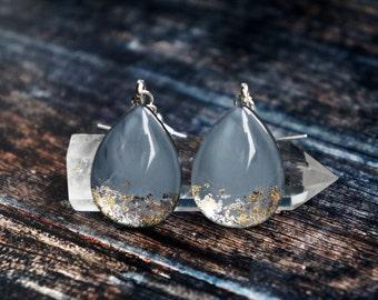 Grey blue earrings , grey earrings , gold leaf earrings , everyday earrings , dangle earrings , teardrop earrings
