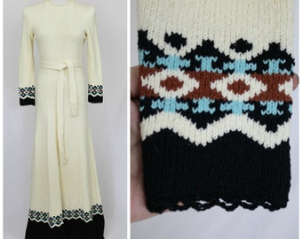 Vintage 60's 70's GORGEOUS Picardo Knits Mermaid Thick Maxi Dress Boho