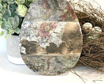 Rustic Easter Egg - Easter Decor - Easter - Rustic Easter Decor - Easter Decorations - Rustic Home Decor - Floral Spring Decor - Wood Art