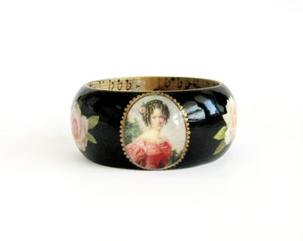 Black wooden bracelet, Wood bangle, Hand paint decoupage, Chunky bracelet, Vintage inspired jewelry, Art jewelry, Unique gift for her