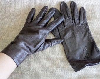 Vintage Leather Gloves, Brown Leather Gloves, Gloves for Her, Size 8, Women's Brown Leather Gloves, Winter Gloves