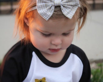 Thatched Gold Baby Bow headband - baby bow clip - toddler clip