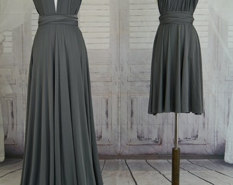 Sweet heart Wrap Convertible Infinity Dress Evening Dresses Slate grey Bridesmaid Dress-C28#B28#