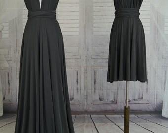 Sweet heart Wrap Convertible Infinity Dress Evening Dresses  Charcoal grey Bridesmaid Dress-B29#C29#