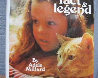 1970's Cats Fact Legend Book Adele Millard Illustrated - Feline Lovers Tales Stories Proverbs Quotes Pencil Drawing Animal Hardcover Vintage