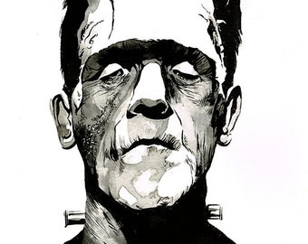 Frankenstein's Monster Boris Karloff - original A3 ink drawing on heavyweight watercolour paper
