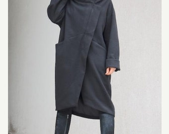 Extravagant women black coat, asymmetrical long women's outerwear, party coat with high neck collar, super soft and warm plus size coat