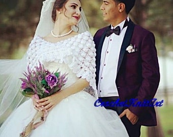 Bridal Shrug, Wedding Shawl, Crochet Triangle Shawl, Wedding Wrap, White Crochet Shawl, Bridal Cover, White Bridal Wrap,  Bridal Accessories