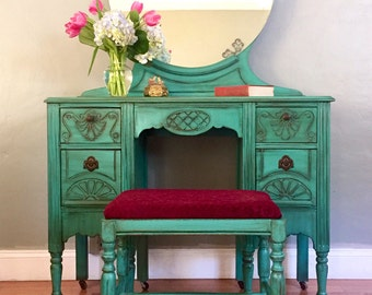 SAMPLE PIECE - Antique Make-up Vanity (Teal)