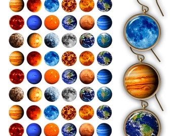 Planets 0.5 inch 1 inch 25mm 20mm 18mm for Bottlecap images Pendant Images Printable Planets Digital collage sheet