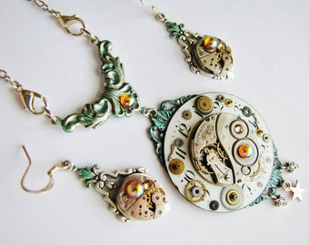 Steampunk Antique Elgin Pocket Watch Necklace with Vintage Elgin Watch Movement Earrings, Steampunk Necklace, Steampunk Wedding NES13