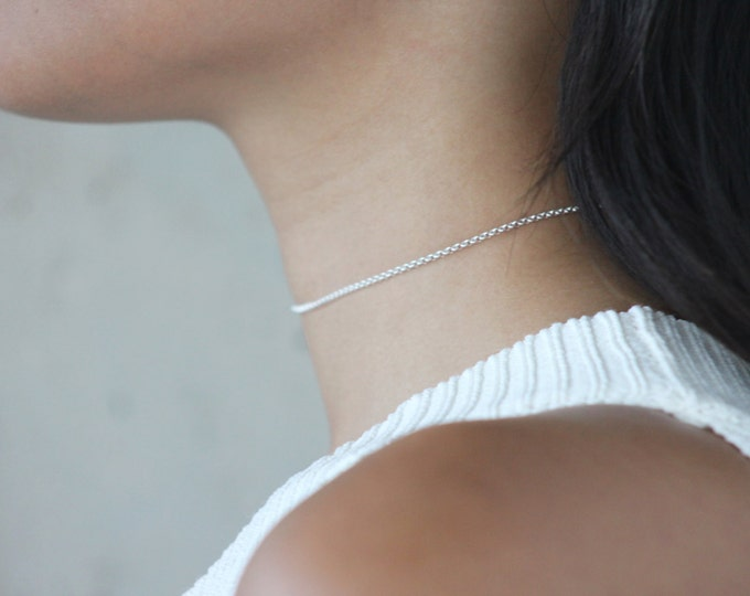 Featured listing image: QUINSCO - Sterling Silver Thin Chain Choker/Necklace