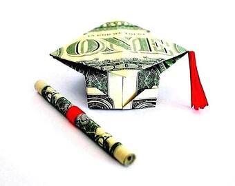 Money Origami - graduation gift - origami graduation cap - diploma - US dollar bills