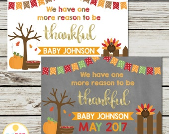 THANKSGIVING PREGNANCY ANNOUNCEMENT * Pregnancy Reveal * Thankful * Fall * Chalkboard * White * Digital Printable Card Sign
