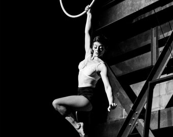 Discord, Aerialist, Aerial Arts, Lyra, Hoop, Live, Performance, Giclée Print, Archival, Photography, Black and White