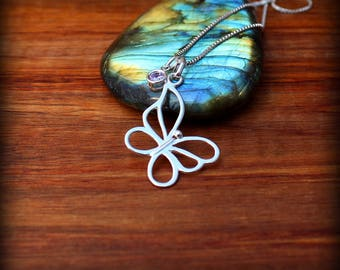 Butterfly necklace, sterling silver butterfly necklace, Butterfly charm