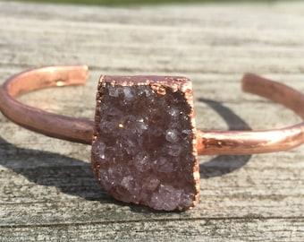 Amethyst Quartz Druzy Cluster Electroformed Cuff Bracelet. Slender copper cuff; geode cuff;unique boho Electroformed copper cuff